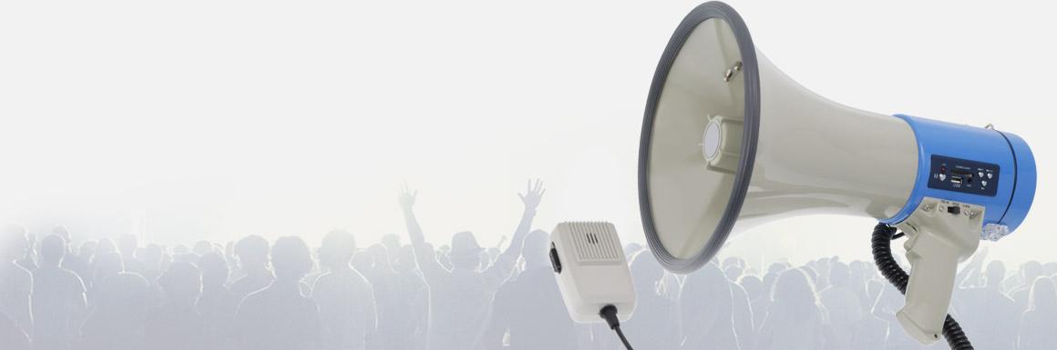 Multisort megafon, tuba elektroakustyczna z mikrofonem